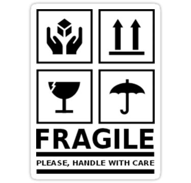 """fragile handle with care"" stickers by neviz 