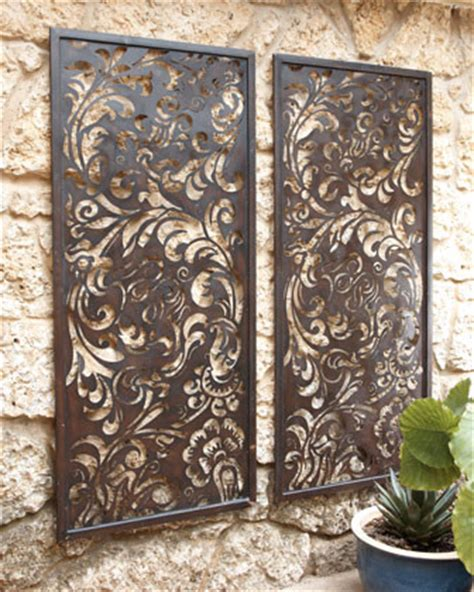 Outdoor Wall Decor by Floral Laser Cut Wall Decor Traditional Outdoor Decor