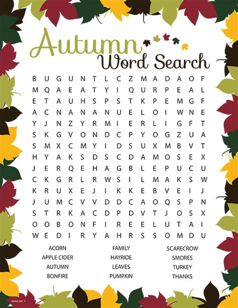 printable word search for dementia patients autumn word search worksheets teaching inspiration