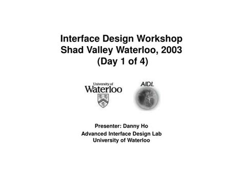 powerpoint design workshop ppt interface design workshop shad valley waterloo 2003
