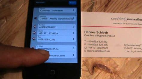 Visitenkarten Youtube by Visitenkarten Einscannen Youtube