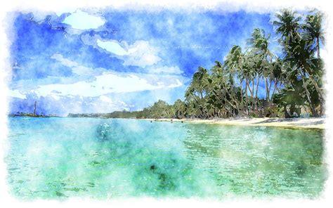 island colors watercolor tropical island
