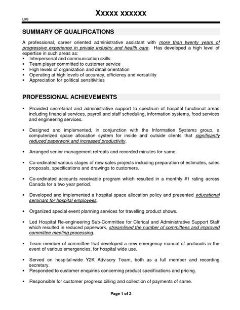 Admin Resume Sle Doc administrative assistant resume summary 28 images doc