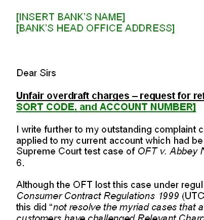 Complaint Letter To Bank Charges govan centre unfair bank charges free help to amend