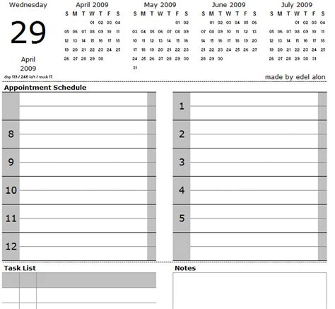 printable daily calendar notes time slot calendar templatedaily calendar template 2018