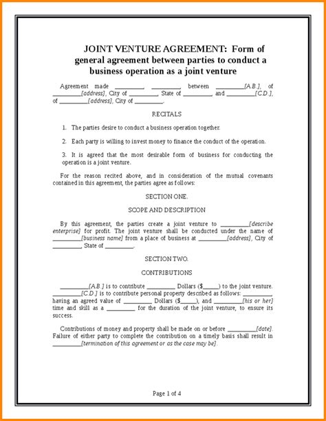 28 joint venture agreement template doc doc 585600