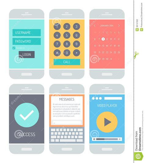 design elements for apps smartphone application interface elements stock