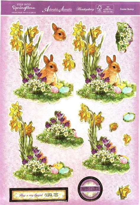 Easter Decoupage - hunkydory step into springtime easter bunny die cut