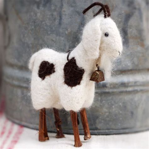 felt pattern goat collectible handmade wool goat ornament figurine goat