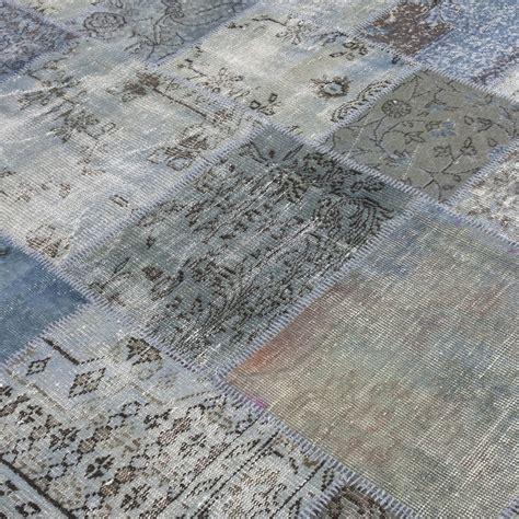grau blau teppich grau blau vintage patchwork teppich 210x303cm