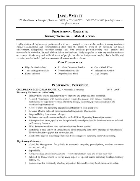 pharmacy resume objective resume exle pharmacy technician exles format for