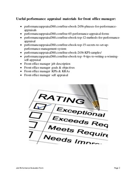 Front Office Manager Performance Appraisal Office Performance Appraisal Template