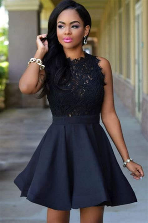 black sheer lace accent sleeveless skater party dress