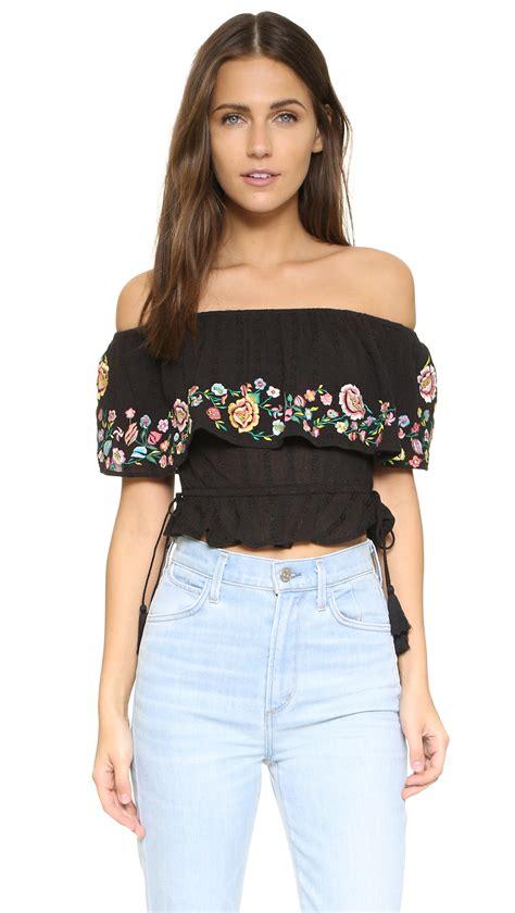 On Shoulder Shoulder Top lyst rahicali embroidered shoulder top in black