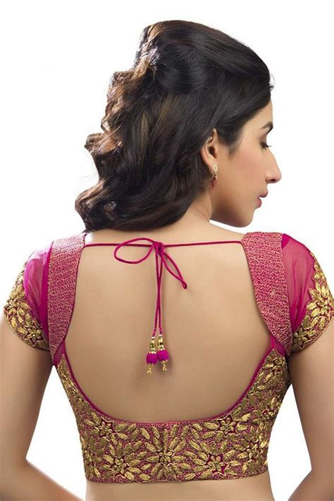 blouse pattern net saree dark pink gold festive wear raw silk net blouse