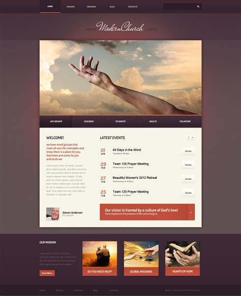 drupal themes live demo modern church drupal template 43981