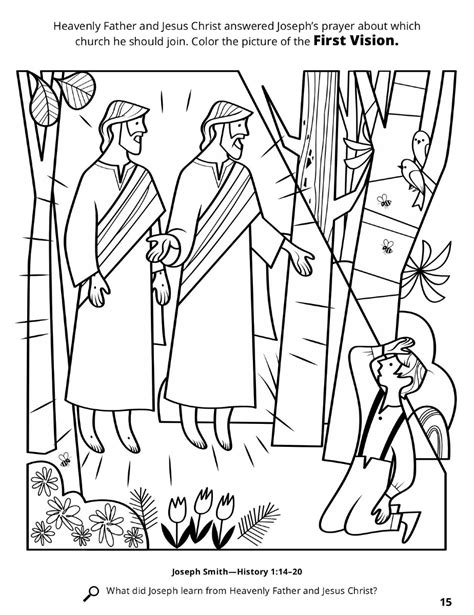 coloring pages joseph smith s first vision the first vision