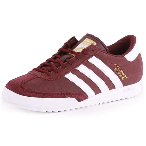 Sepatu Adidas Beckenbauer 01 Box by Adidas Beckenbauer Mens Leather Suede Maroon Trainers