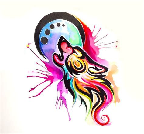 watercolor wolf tattoo designs colorful watercolor tribal wolf design