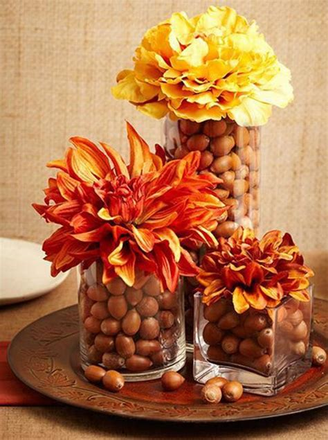acorn centerpieces  eco accents fall crafts  thanksgiving decorating ideas