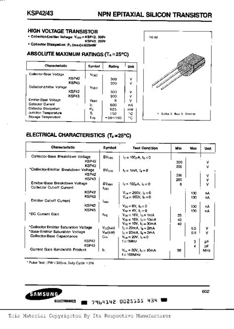 transistor npn datasheet pdf ksp42 381876 pdf datasheet ic on line