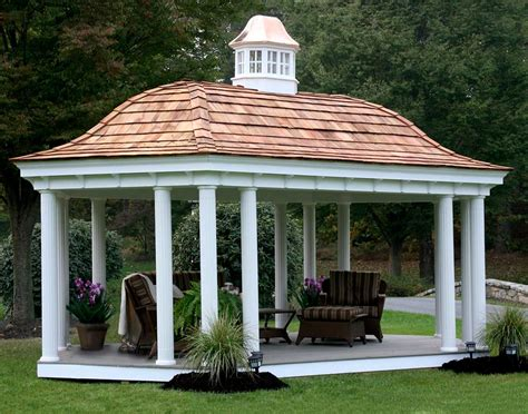 vinyl belle roof elongated hexagon gazebos gazebos by style gazebocreations com