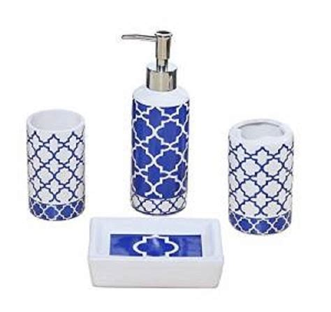 white and blue bathroom accessories 4 piece bathroom accessory set blue and white