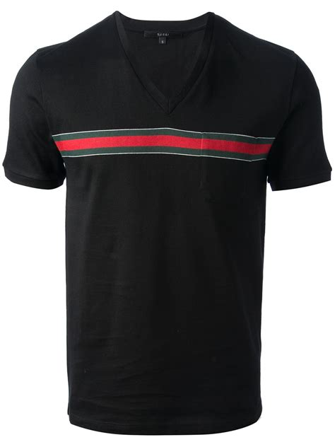 Hem Guchi Black gucci vneck tshirt in black for lyst