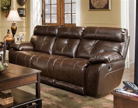 seville java leather reclining sofa by catnapper 4901