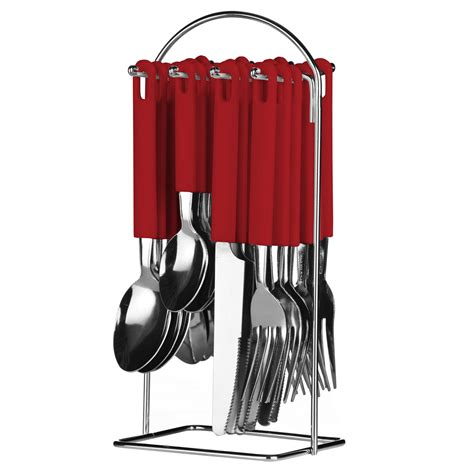 Cutlery Set With Stand lino cutlery set 24 piece stainless steel plastic hanging