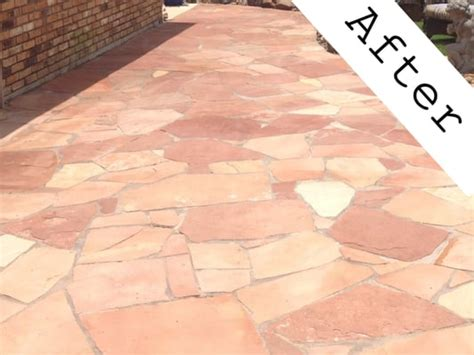 Sealing Flagstone Patio by Flagstone Patio After Being Sealed With Dupont