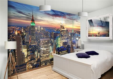 skyline wallpaper bedroom new york night skyline custom wallpaper mural print by jw