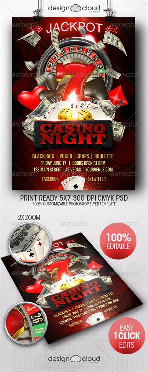Casino Night Flyer Template By Design Cloud Graphicriver Casino Fundraiser Flyer Template