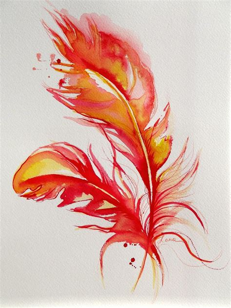 watercolor feather tattoo designs original abstract firebird feathers watercolor painting