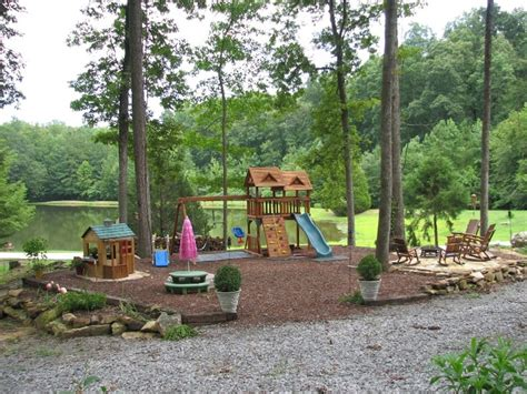 wood chip backyard kids playground i like the idea of sanctioned off with