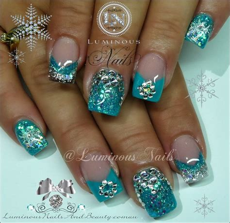 luminous nails turquoise silver nails  bling