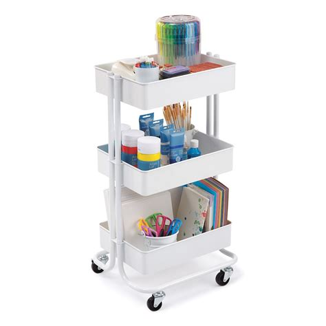 Rolling Carts Ikea Buy The White Lexington 3 Tier Rolling Cart By
