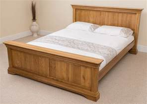 King Size Bed Furniture Rustic Solid Oak Wood King Size Bed Frame