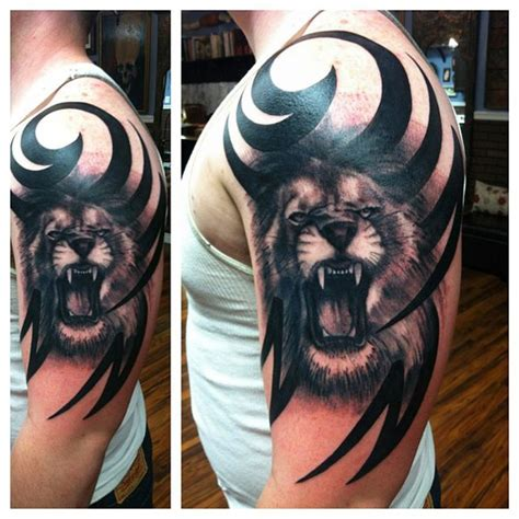 tribal lion shoulder tattoo what does tell about you best ideas