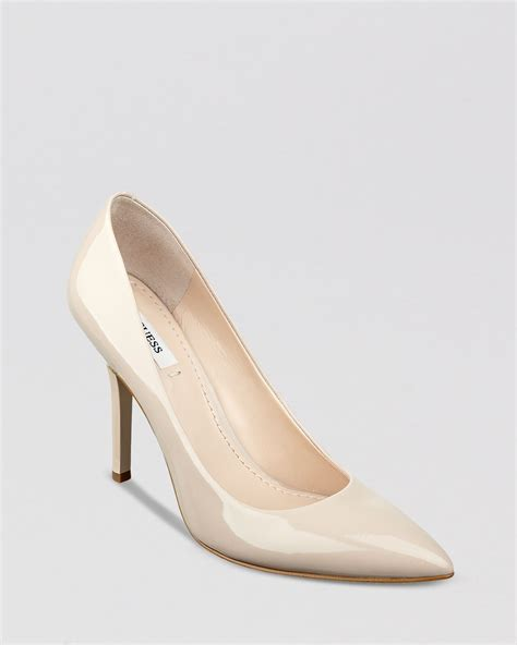toe high heels guess pointed toe pumps plasma high heel in white ivory