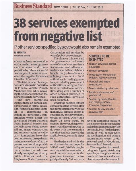 service tax sections list what is not service as per service tax negative list