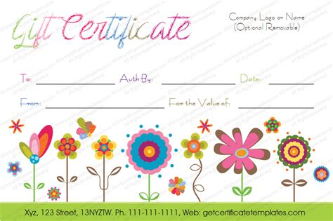 printable birthday certificate templates flowers gift certificate template gifting