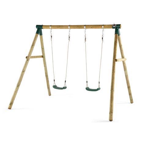 swing image marmoset wooden double swing set plum play