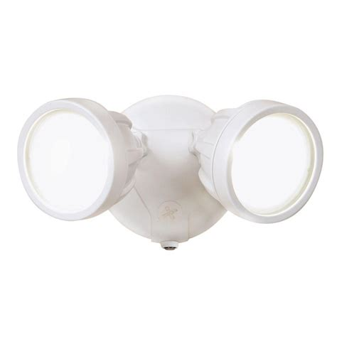 twin head outdoor light all pro white outdoor integrated led round twin head