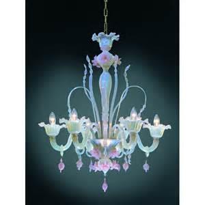 Red Murano Glass Chandelier Six Arm Pink Opeline Italian Murano Glass Flower