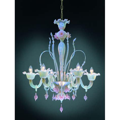 Murano Flower Chandelier Six Arm Pink Opeline Italian Murano Glass Flower