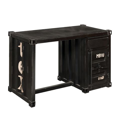 scrivania nera scrivania nera in metallo a forma di container l 123 cm