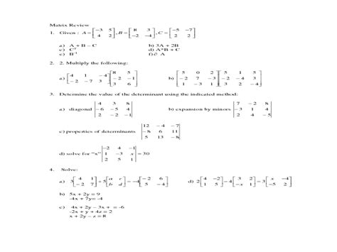 Adding And Subtracting Matrices Worksheet by Matrices Worksheets Worksheets Releaseboard Free