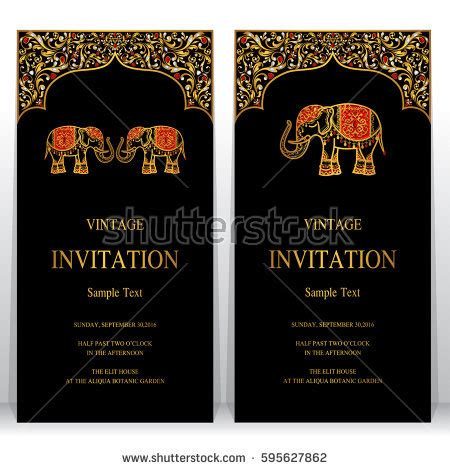 indian invitation card template indian invitation card templates gold elephant stock