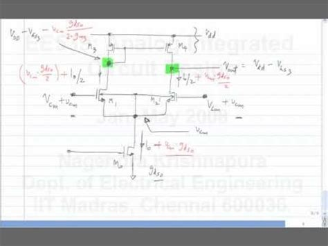 analog integrated circuit design by prof nagendra krishnapura sir lecture 38 differential pair with active load gain output resistance cmrr